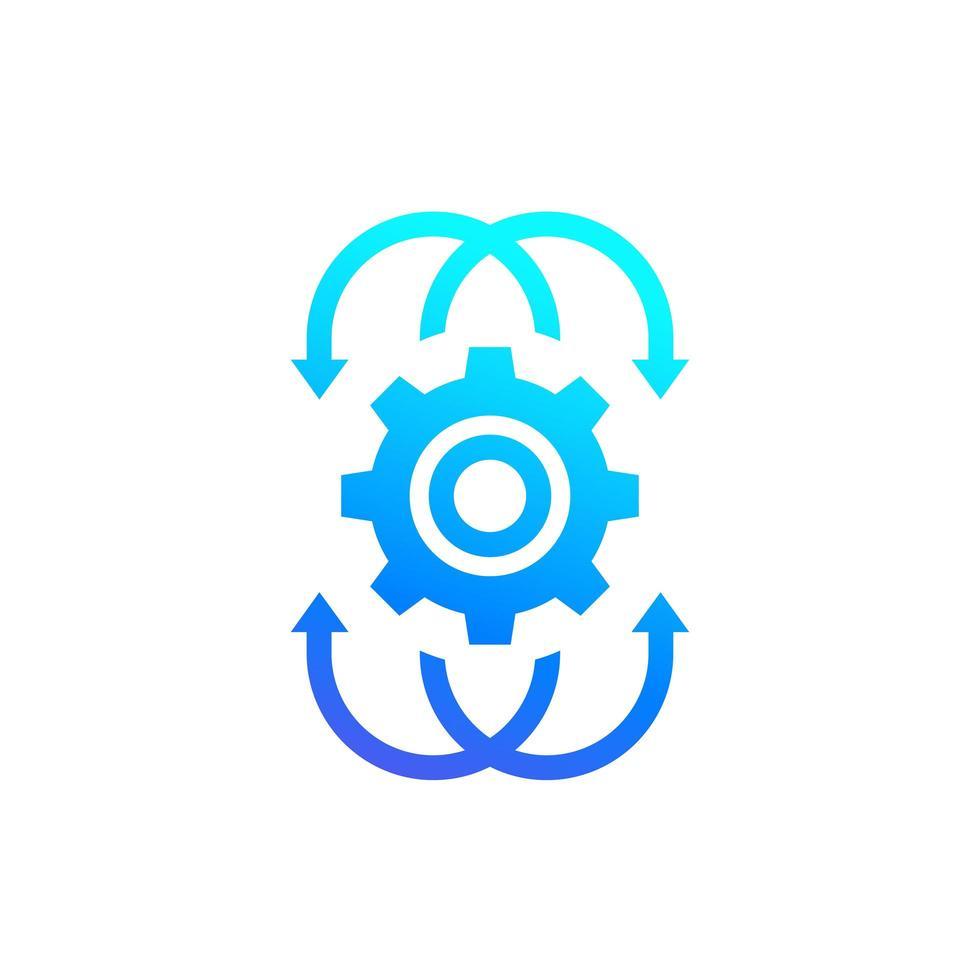 icona di integrazione, ingranaggio con le frecce vettore