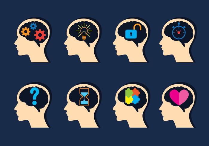 Set di icone di mente aperta vettore