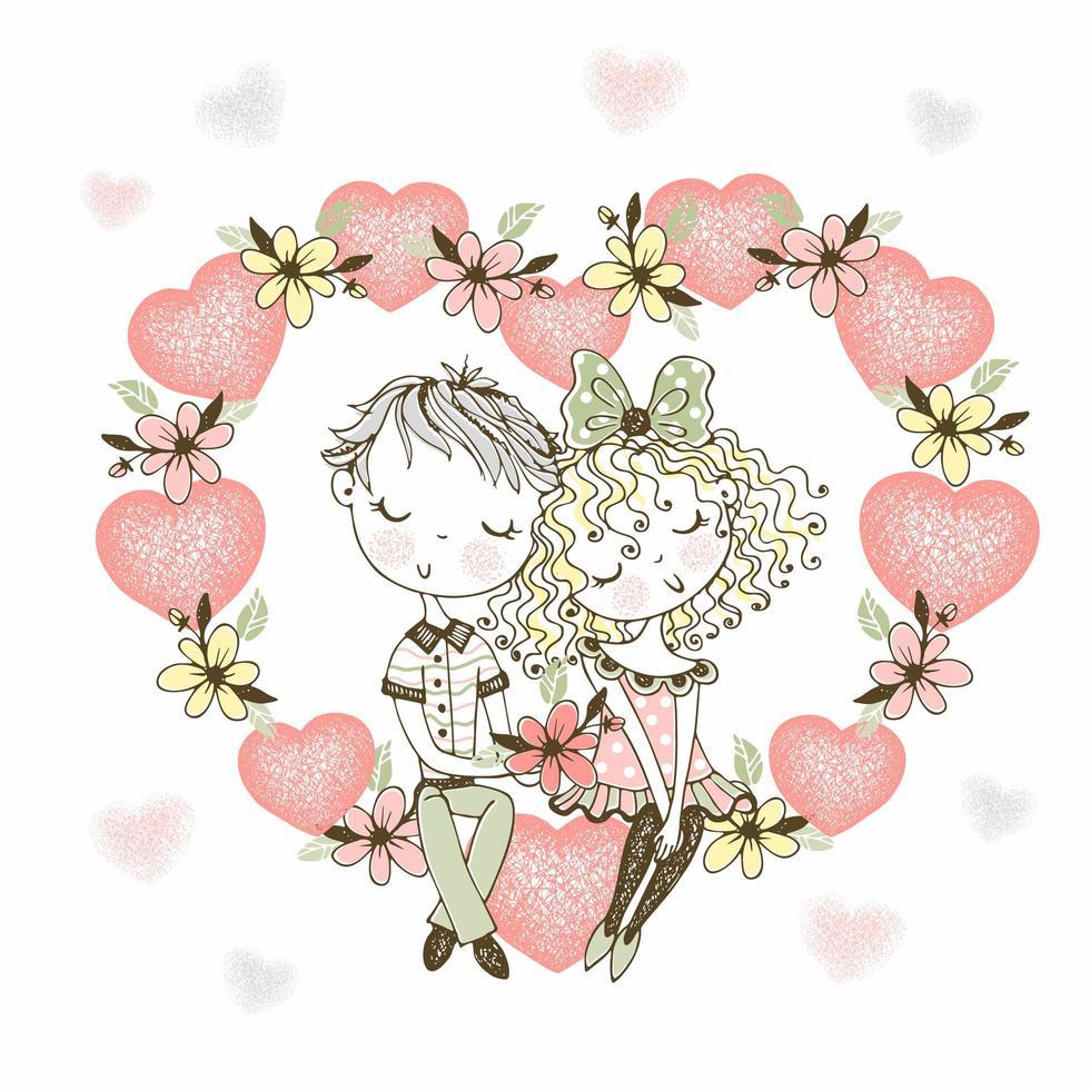 ragazza e ragazzo innamorato nel cuore dei fiori vettore