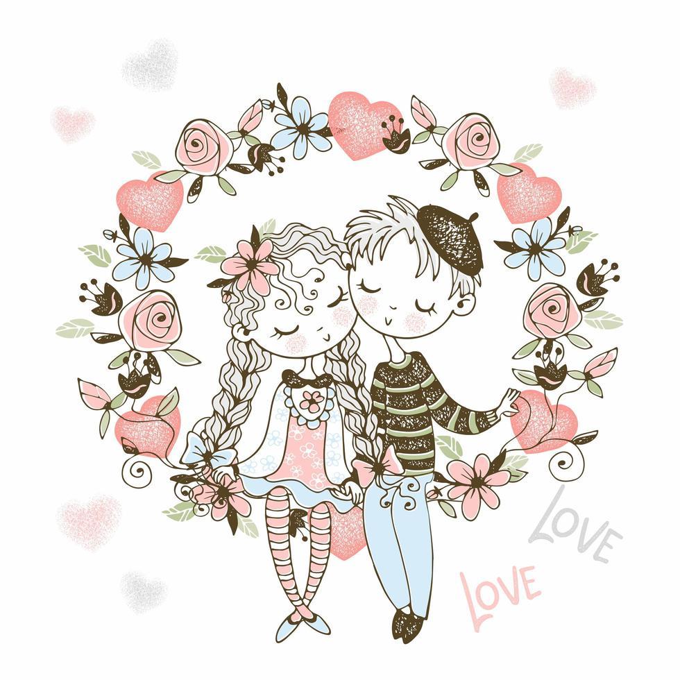 ragazza e ragazzo innamorato siedono in un arco di fiori vettore