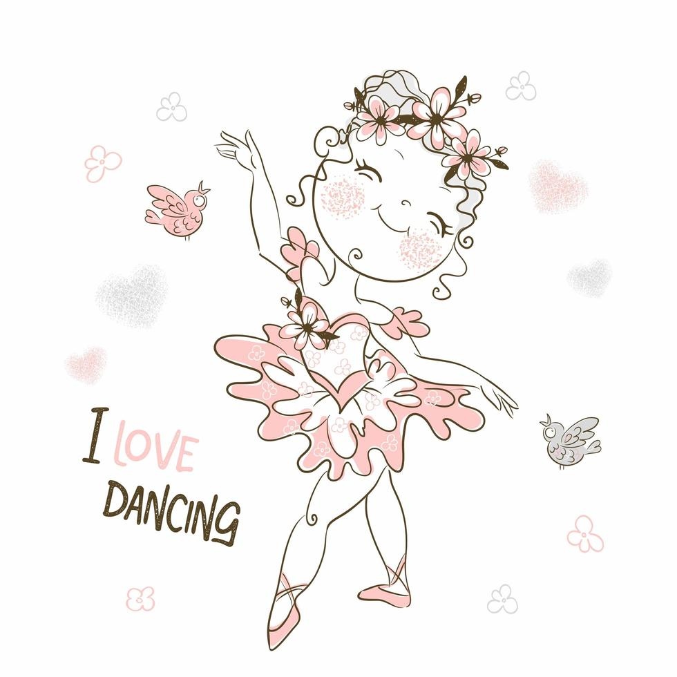 una graziosa ballerina in tutù rosa che balla vettore