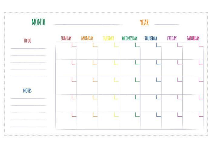 Vettori del calendario mensile unico gratuito