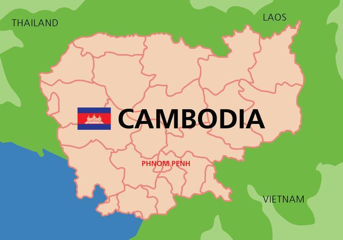 Mappa della Cambogia vettore