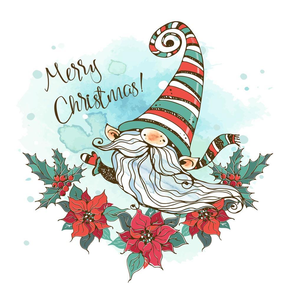 cartolina di Natale con un simpatico gnomo nordico vettore