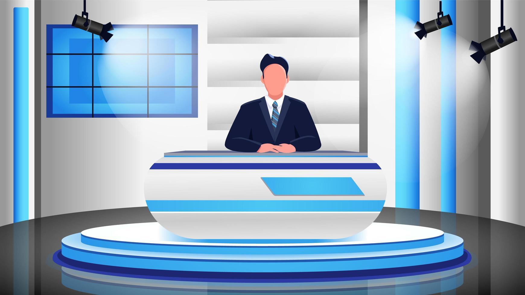 scena del programma di notizie vettore