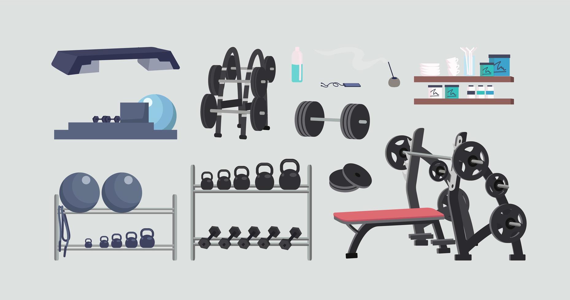 set di attrezzature da palestra vettore