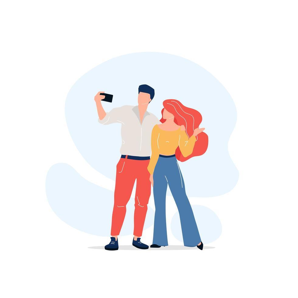 coppia prendendo selfie vettore