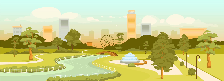 panoramica del parco urbano vettore