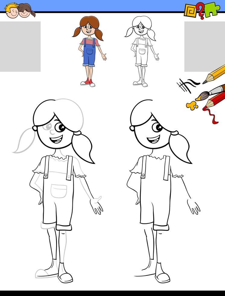 disegno e colorare foglio di lavoro con la ragazza vettore