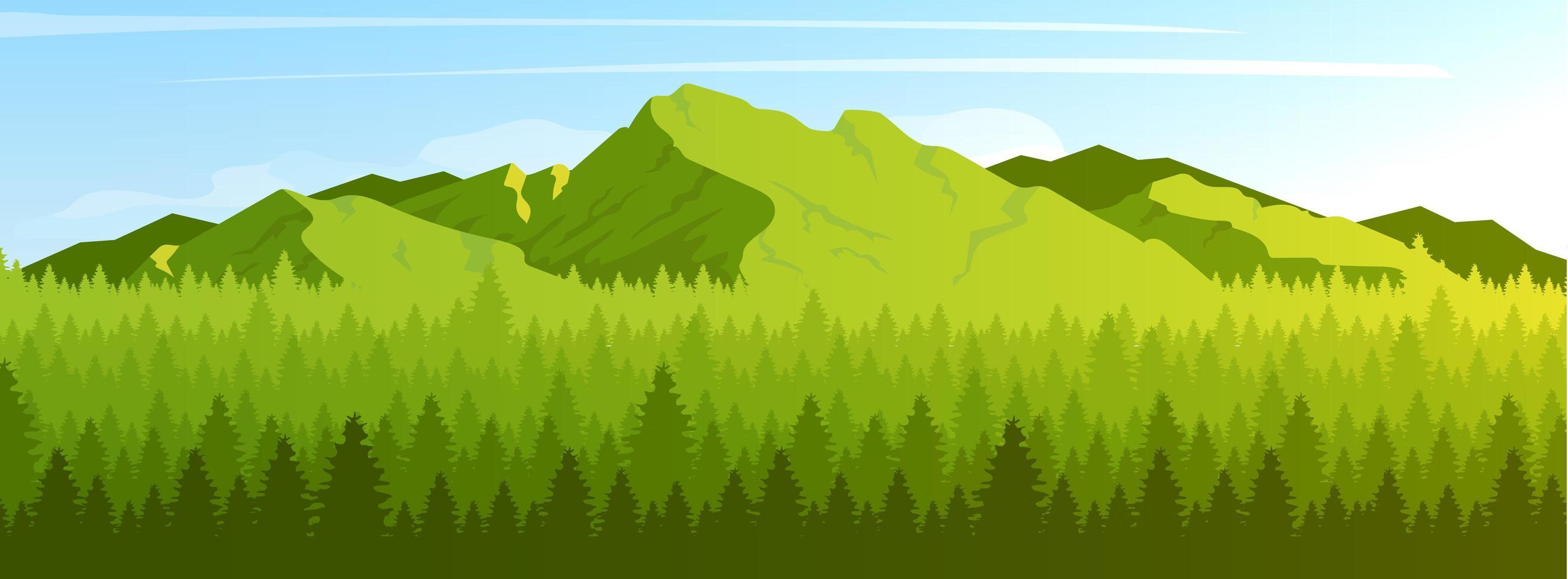 montagna e foresta di conifere vettore