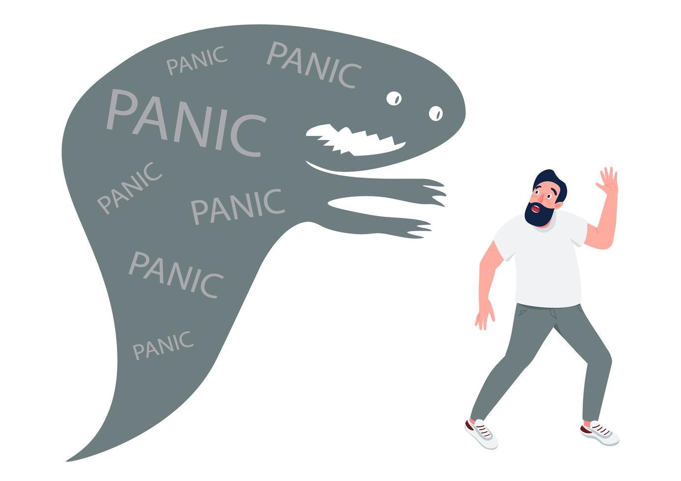 uomo con attacco di panico vettore