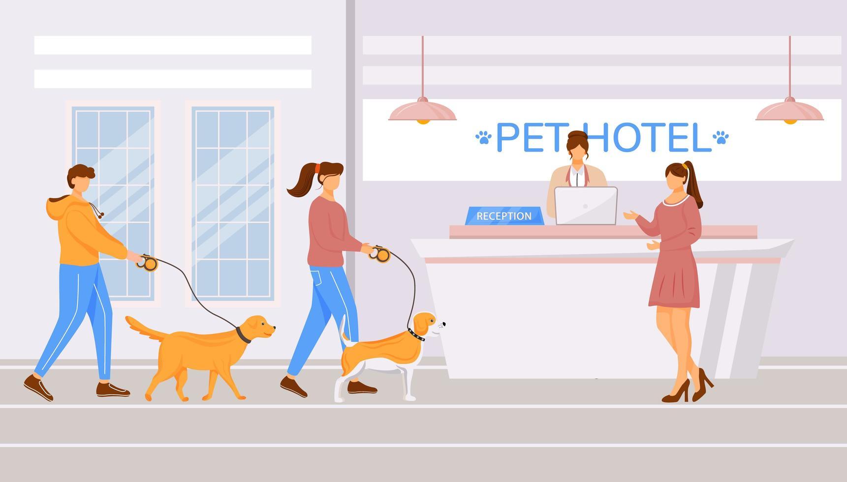 hall dell'hotel per animali domestici vettore