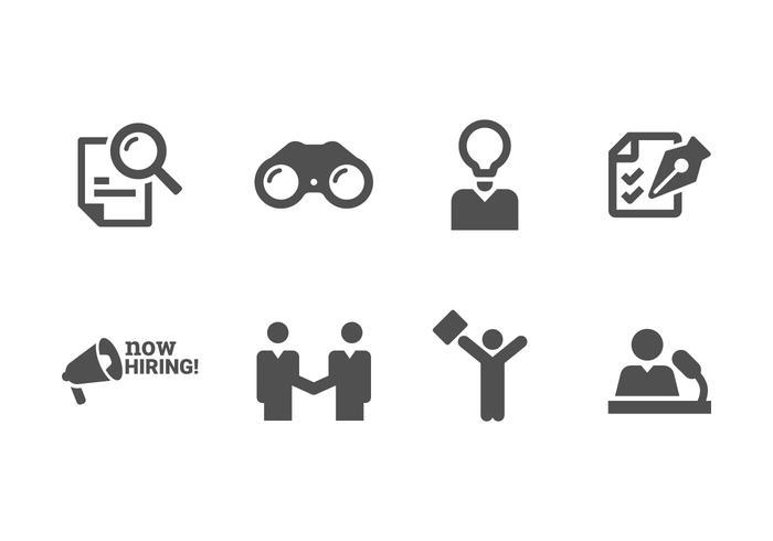 Ora Assunzione e reclutamento Imposta icone vettore