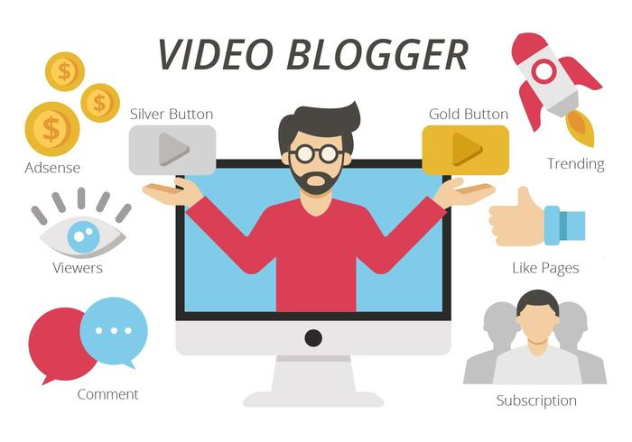 Content Creator o Video Blogger Vector