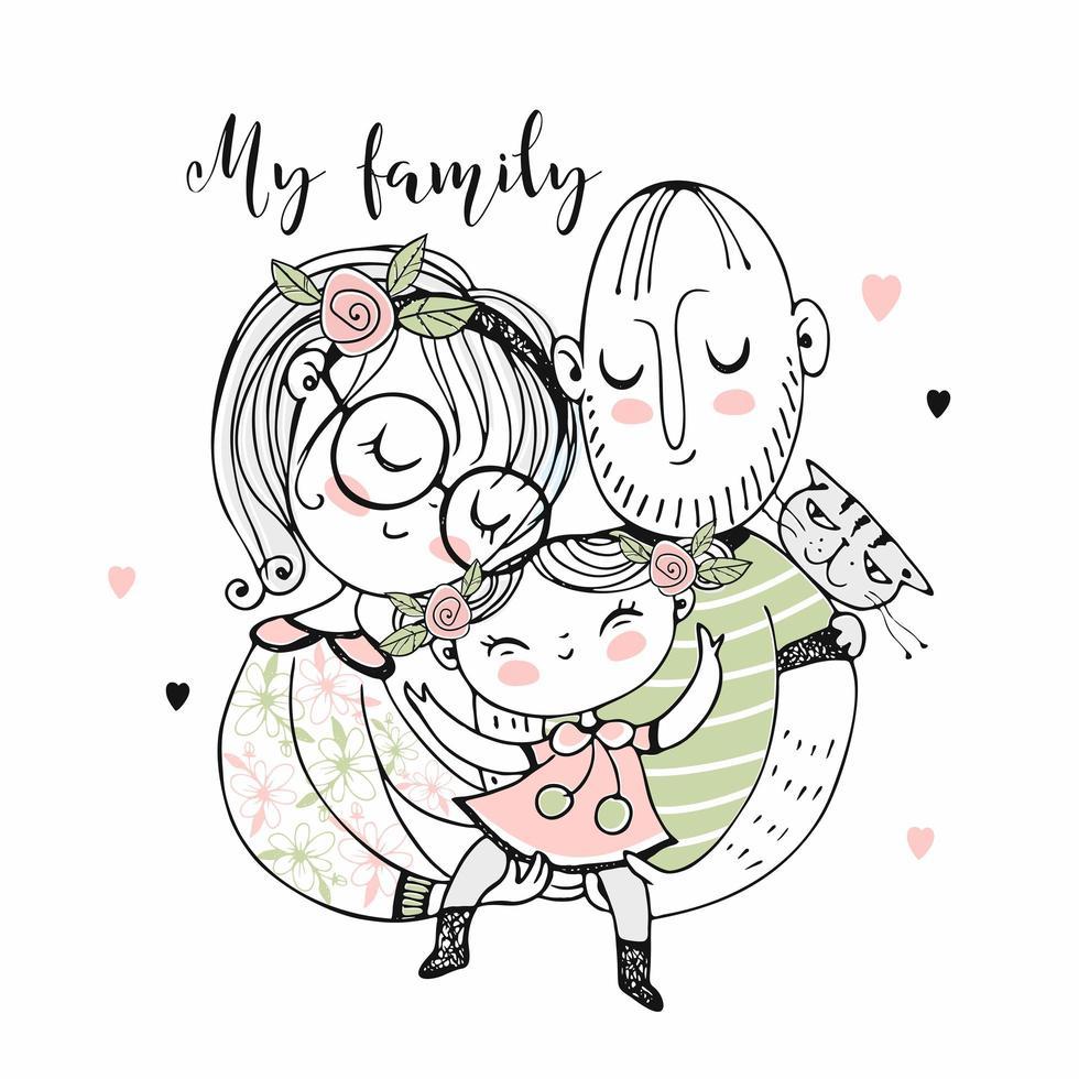 famiglia felice. madre padre e figlia. vettore