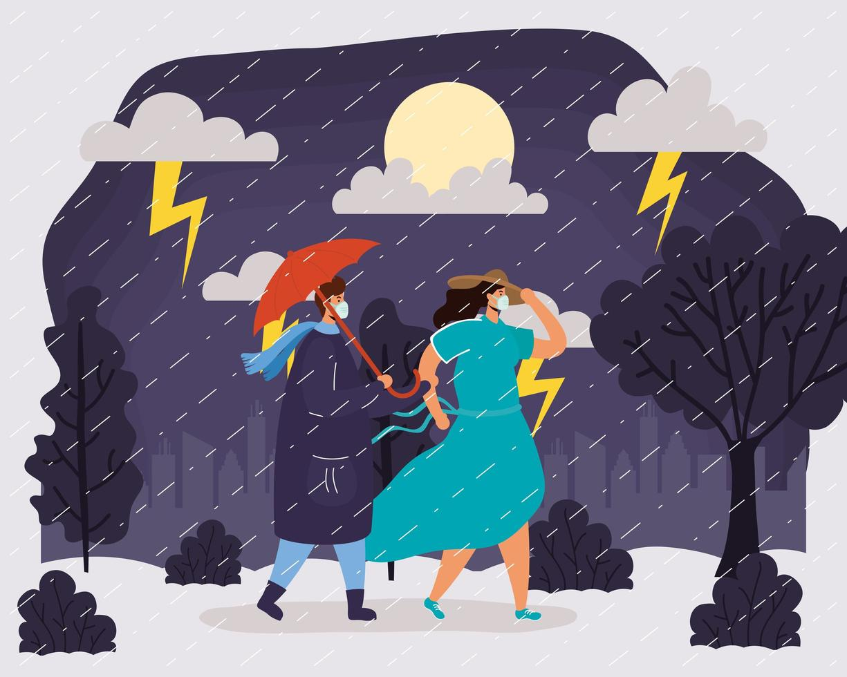 coppia con maschere facciali in un paesaggio di tempo piovoso vettore