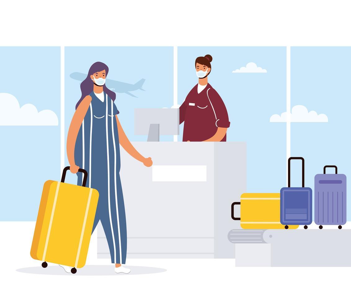 donna con maschera facciale check-in in aeroporto vettore