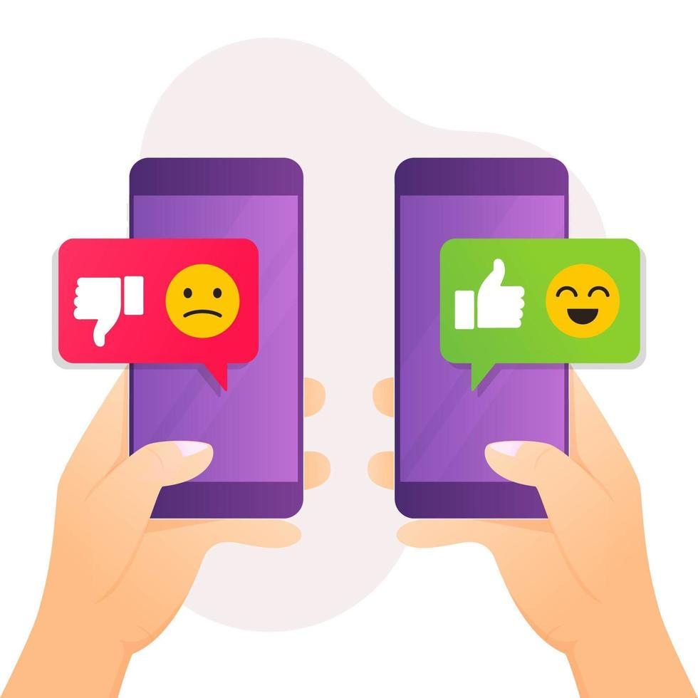 concetto di feedback mano che tiene smartphone con simile messaggio di antipatia vettore