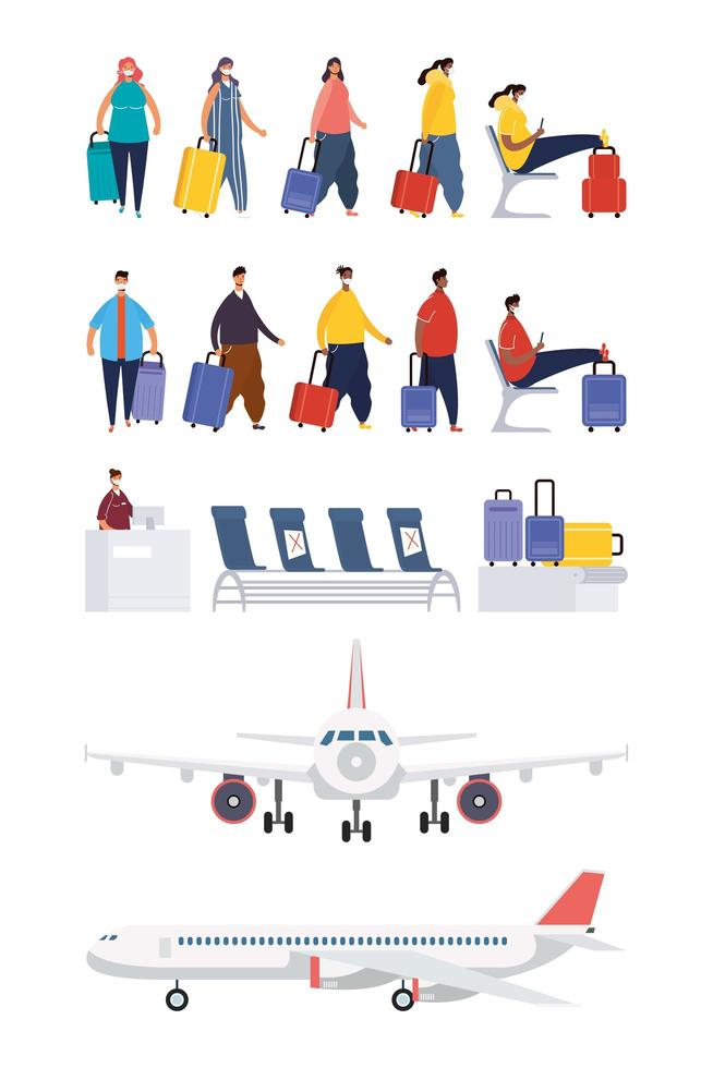 viaggiatori e set di icone aeroporto vettore