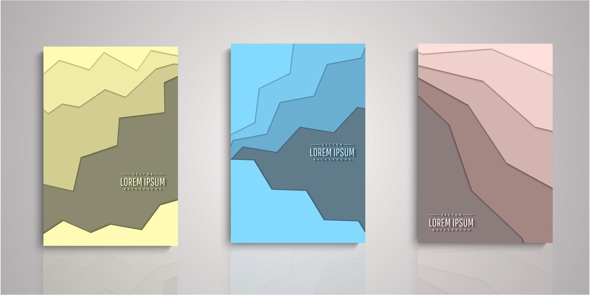 set di copertine di strati di carta tagliata di forma astratta vettore