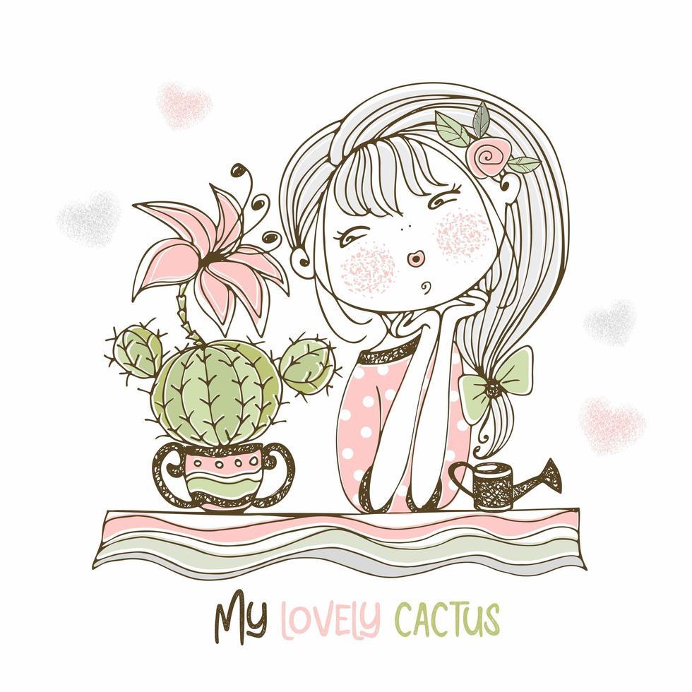 una dolce ragazza ammira un cactus in fiore. vettore