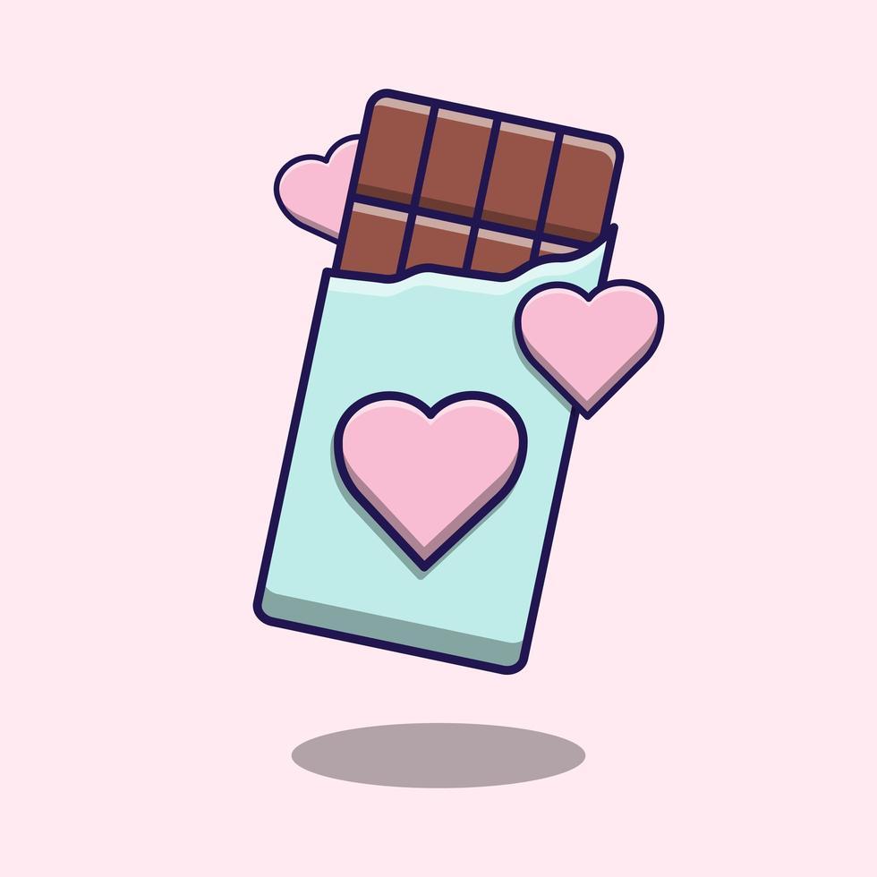 barretta di cioccolato con cartoni animati di cuori vettore