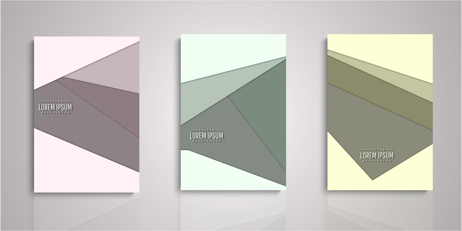 set di copertine di carta tagliata geometrica vettore
