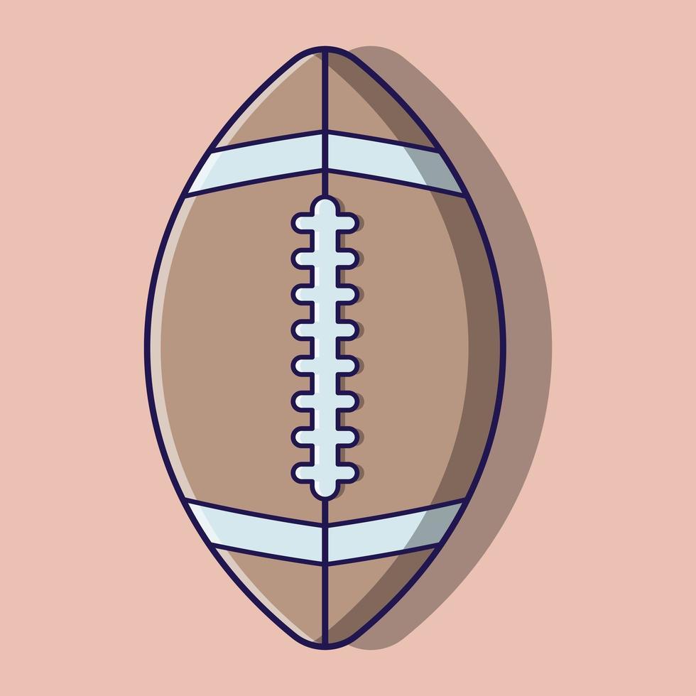 cartone animato carino palla da rugby vettore
