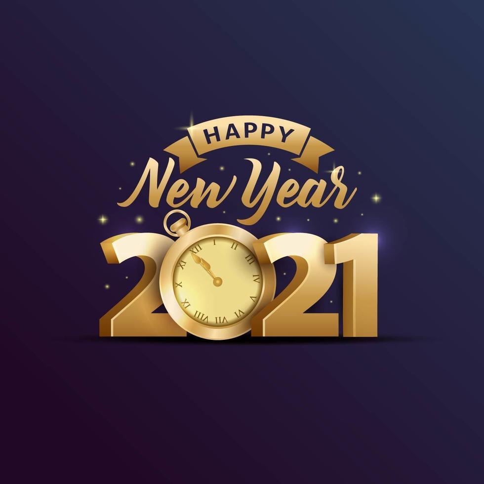 felice anno nuovo 2021 tipografia per biglietto di auguri vettore