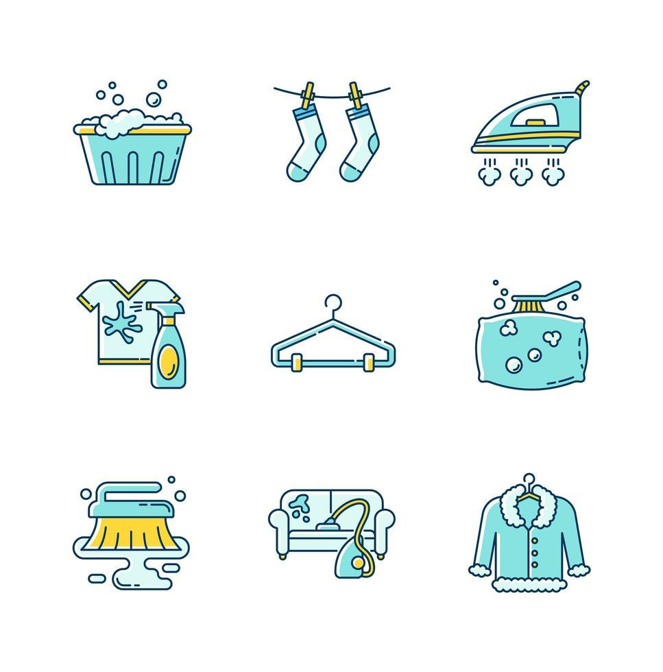 set di icone di servizio di lavanderia e pulizia. vettore