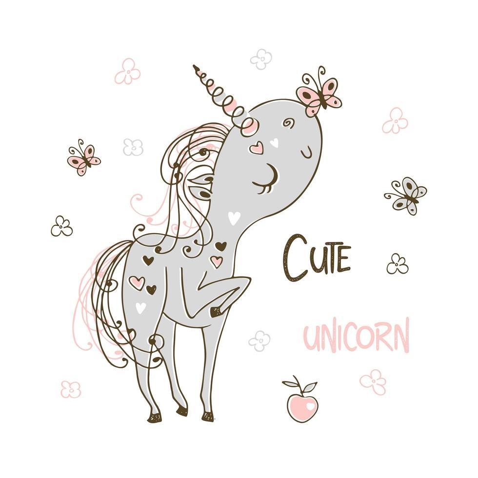 dolce unicorno carino che gioca con le farfalle vettore