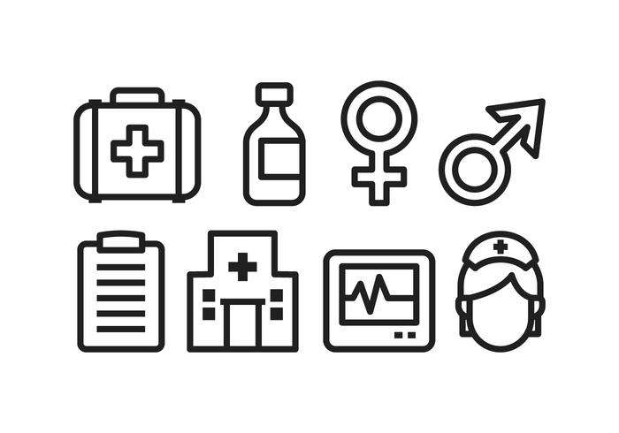 Icone di ospedale gratis vettore