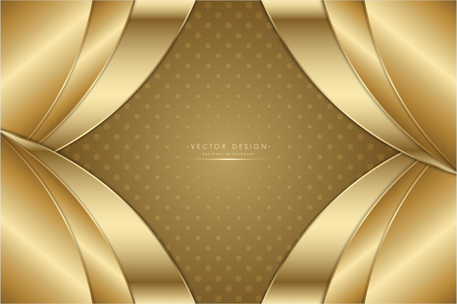 sfondo di pannelli a strati curvi metallici dorati. vettore