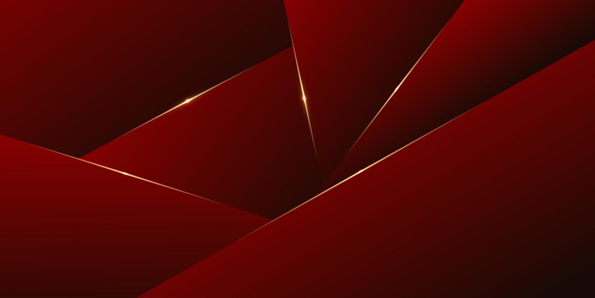 rosso con pannelli a strati poligonali linea oro dal design moderno vettore