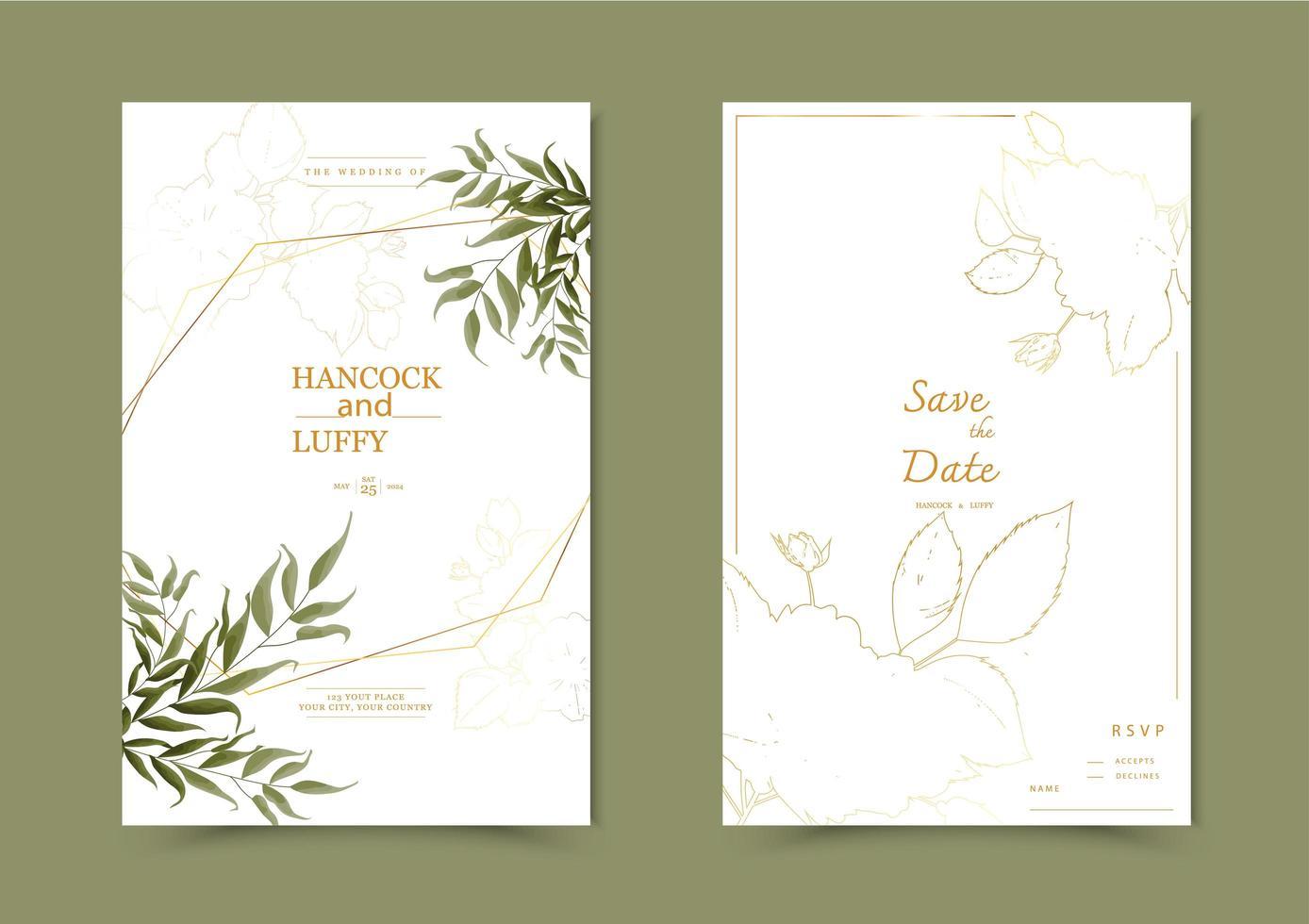 carta di invito matrimonio floreale vettore