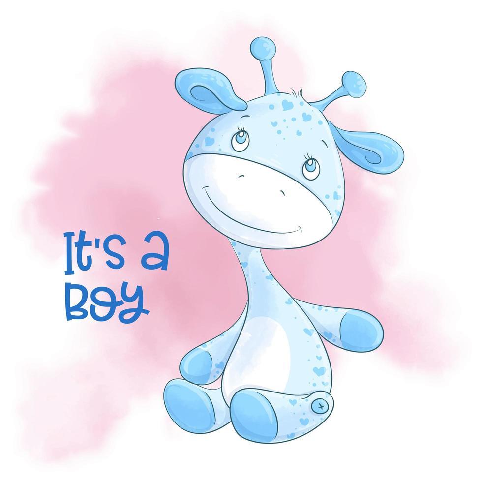 ragazzo carino giraffa cartone animato vettore