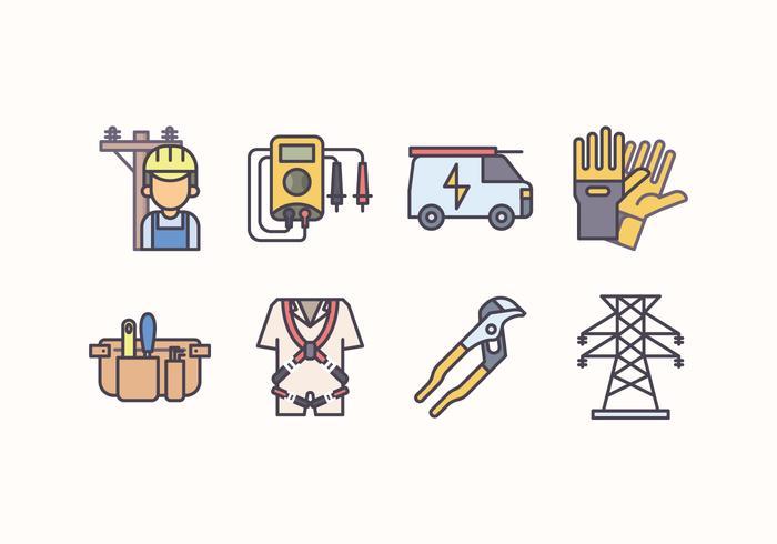 Set di icone di elettricisti vettore