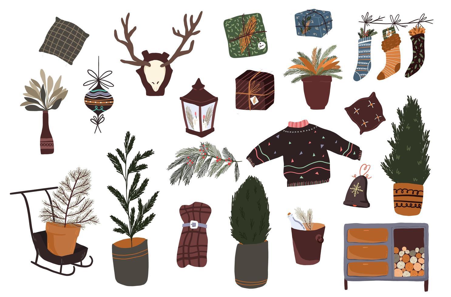 set di decorazioni per interni di elementi simpatici cartoni animati di Natale vettore