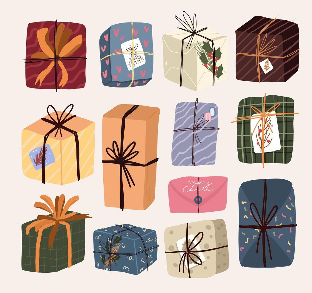 elementi regalo di Natale simpatico cartone animato vettore