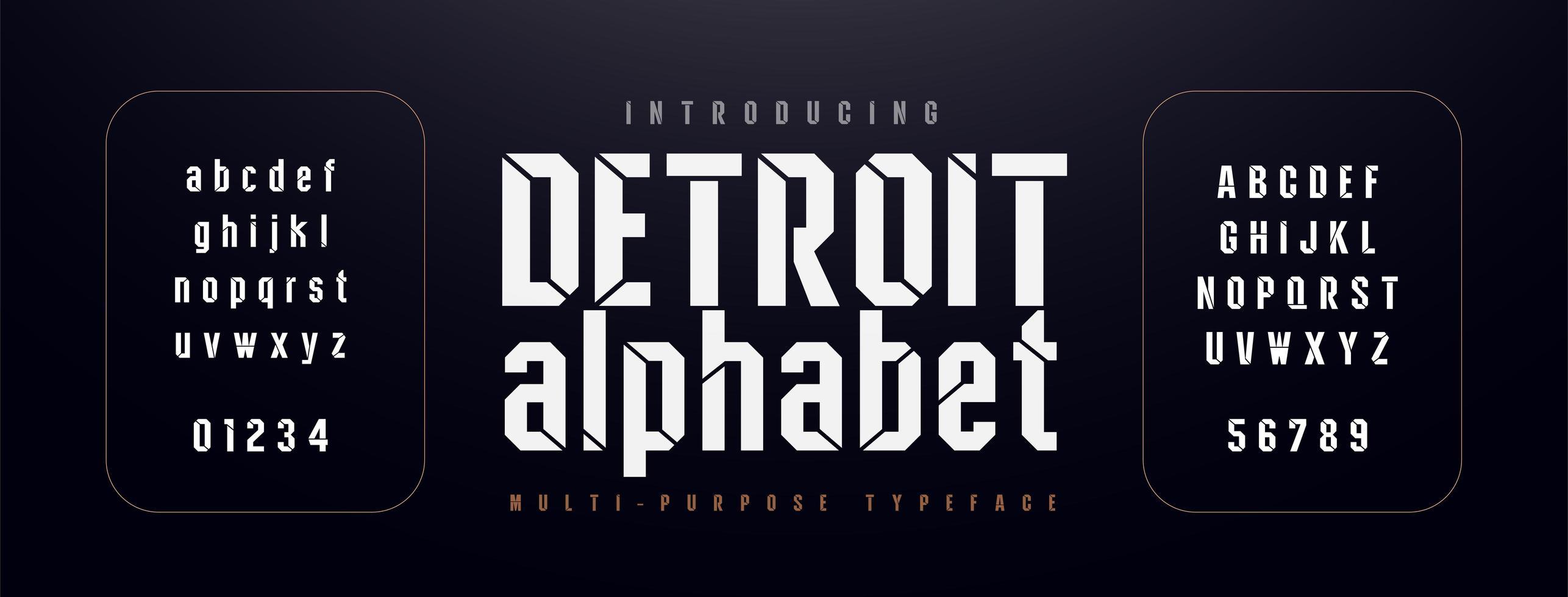carattere alfabeto moderno urbano vettore