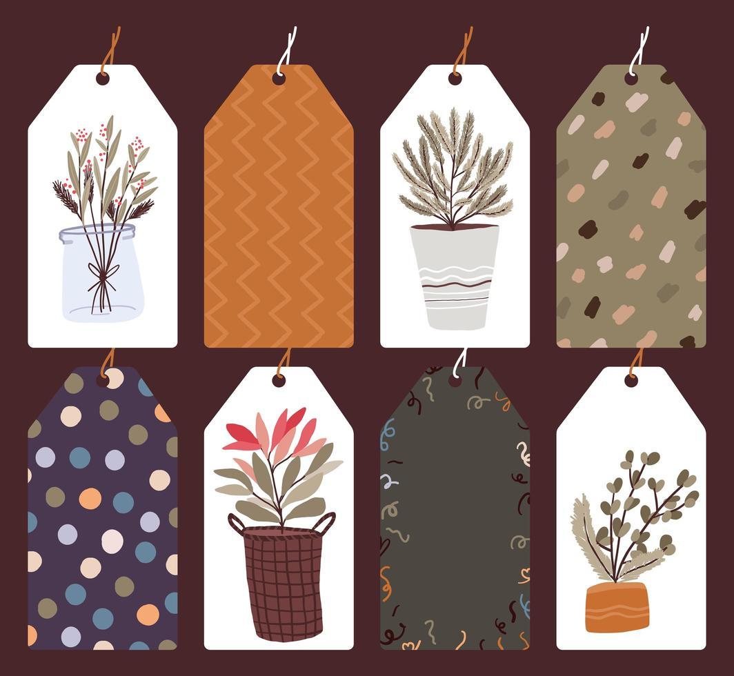 etichette di vacanze di Natale, set di tag regalo vettore