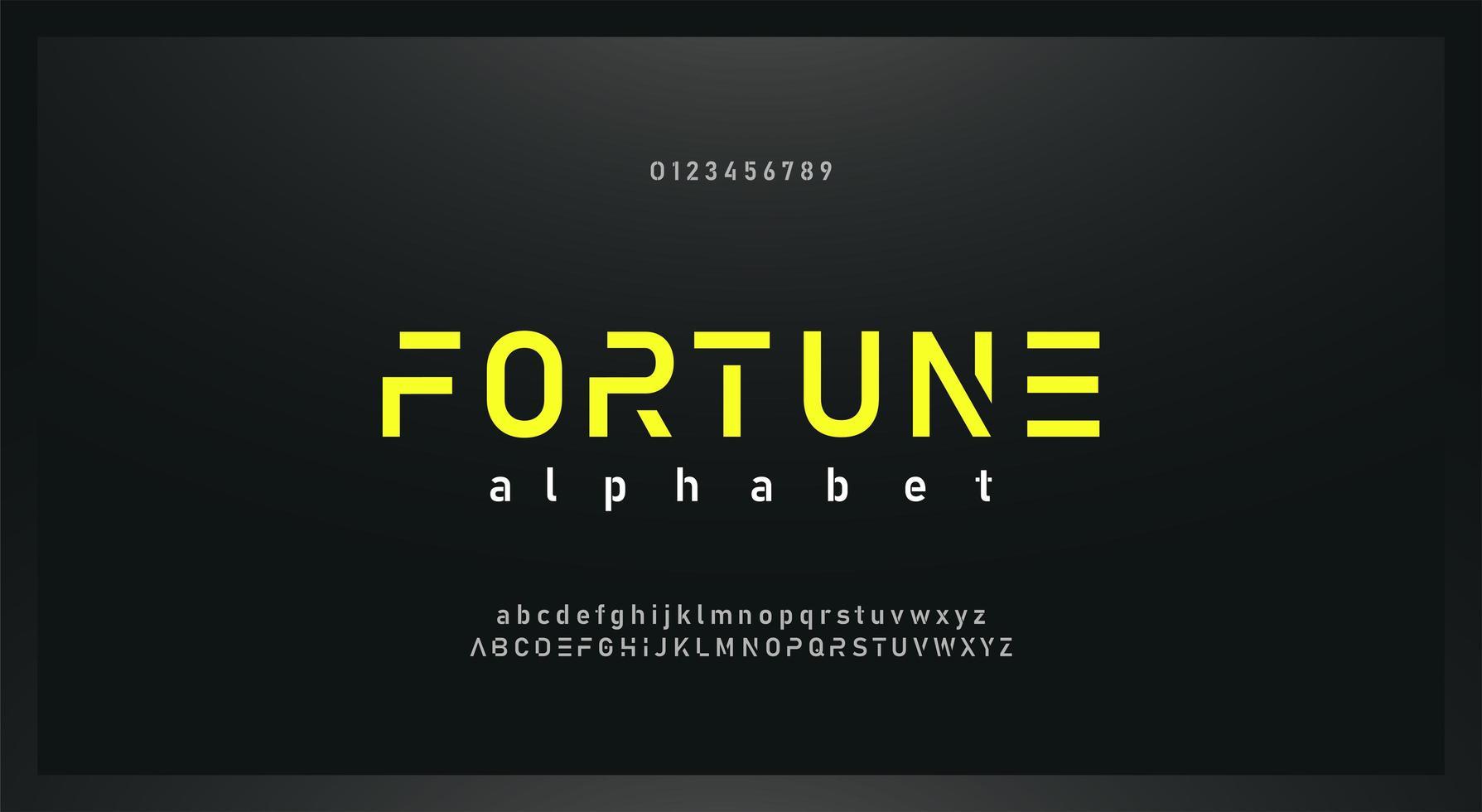 carattere alfabeto moderno urbano con numeri vettore
