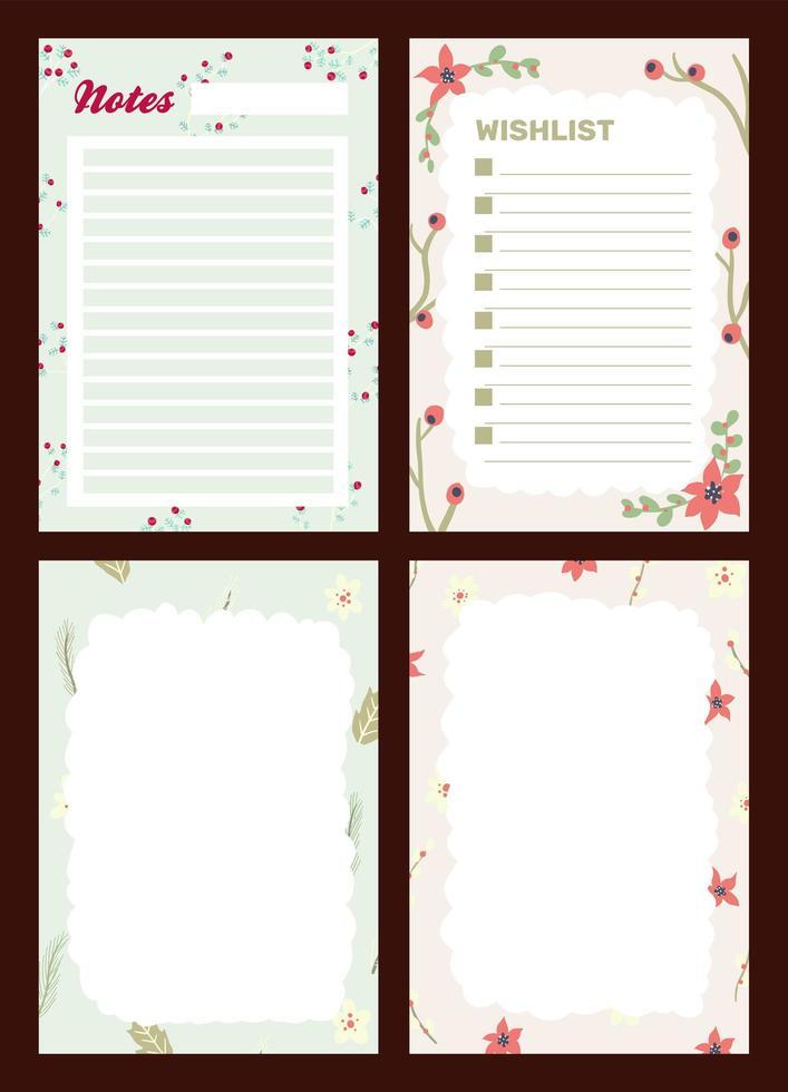 diario delle vacanze di Natale, set di blocco note vettore