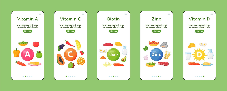 vitamine e minerali sullo schermo dell'app mobile onboarding vettore