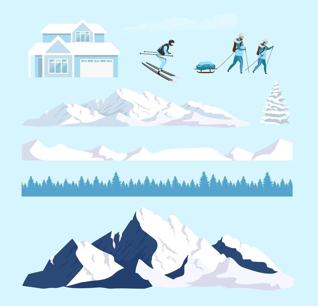 set di oggetti di natura invernale vettore