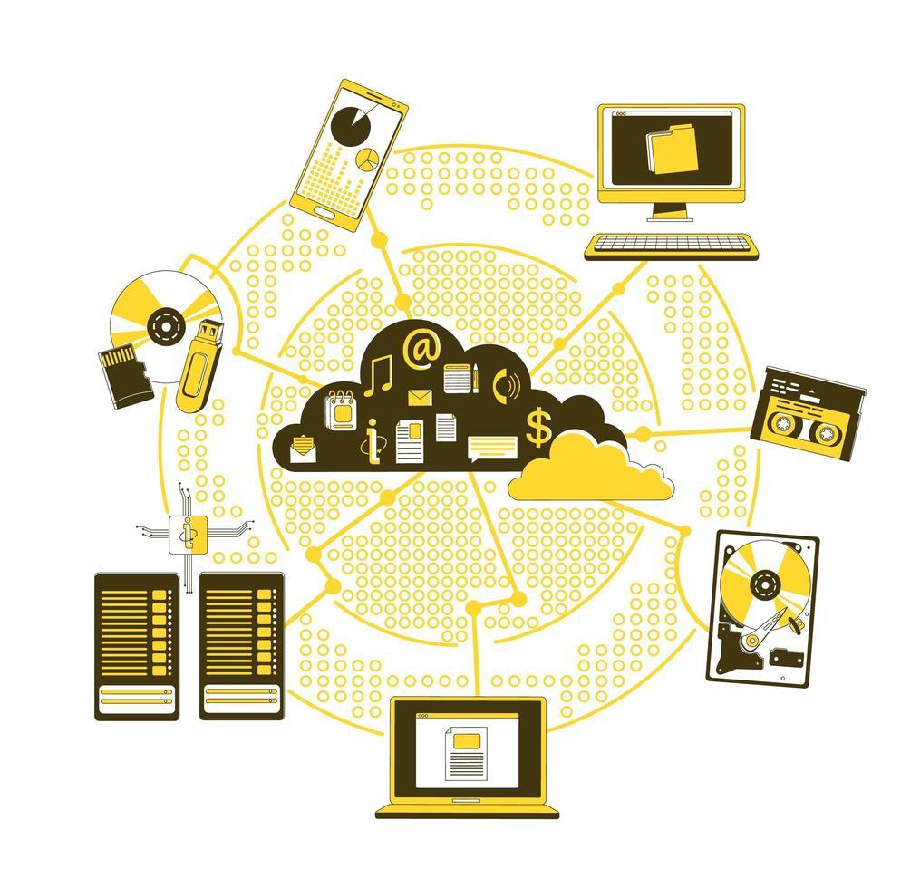 supporti di memorizzazione nel cloud vettore