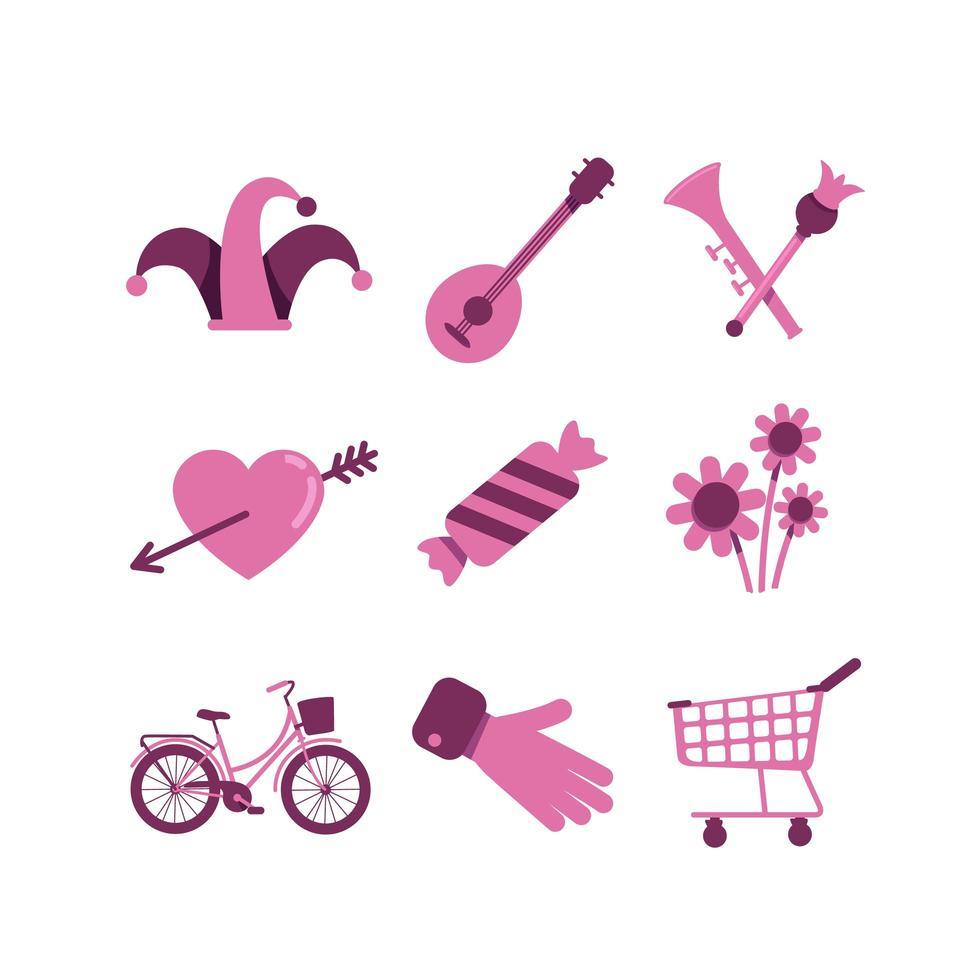 set di oggetti di San Valentino e shopping vettore