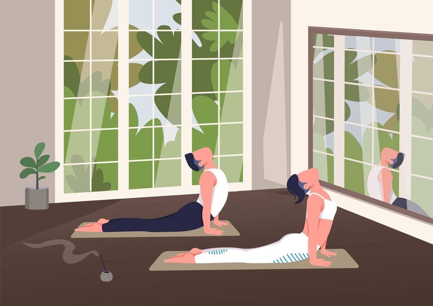 lezione di yoga al coperto vettore