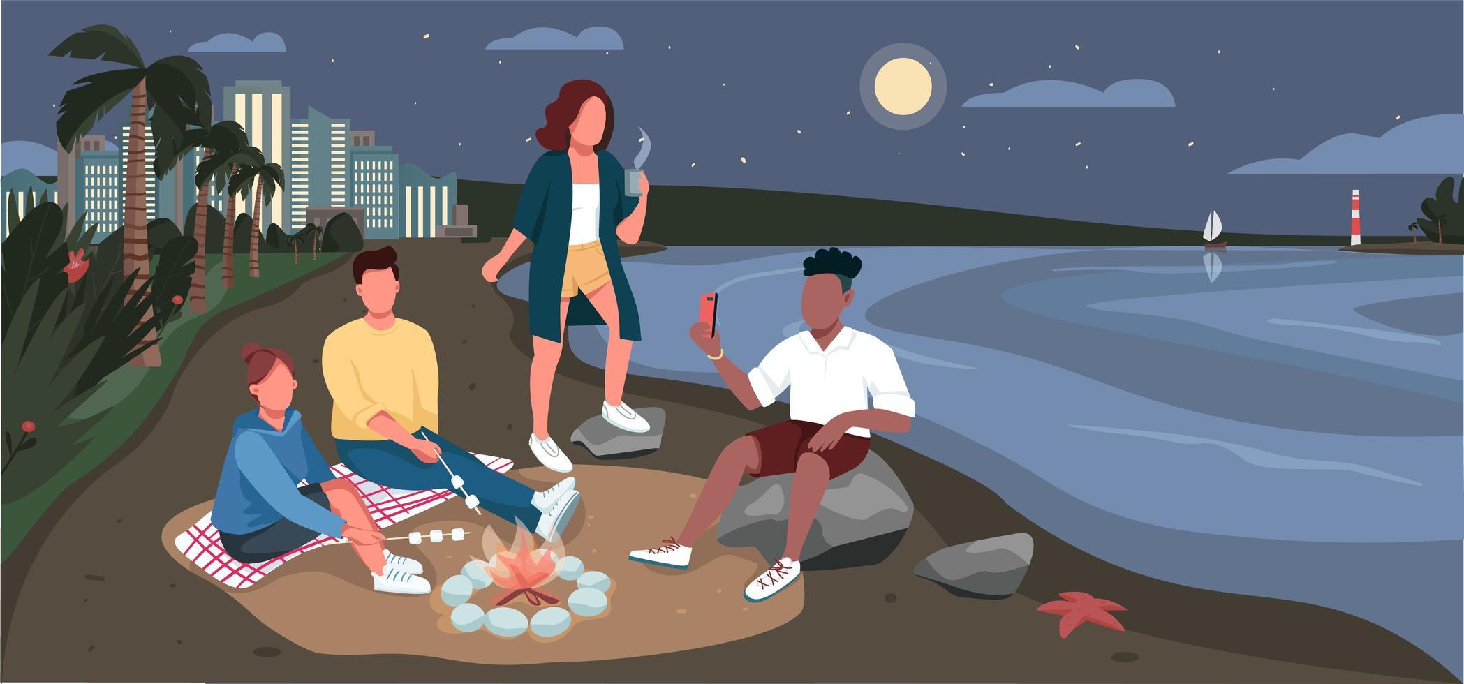 picnic serale di amici sulla spiaggia sabbiosa vettore