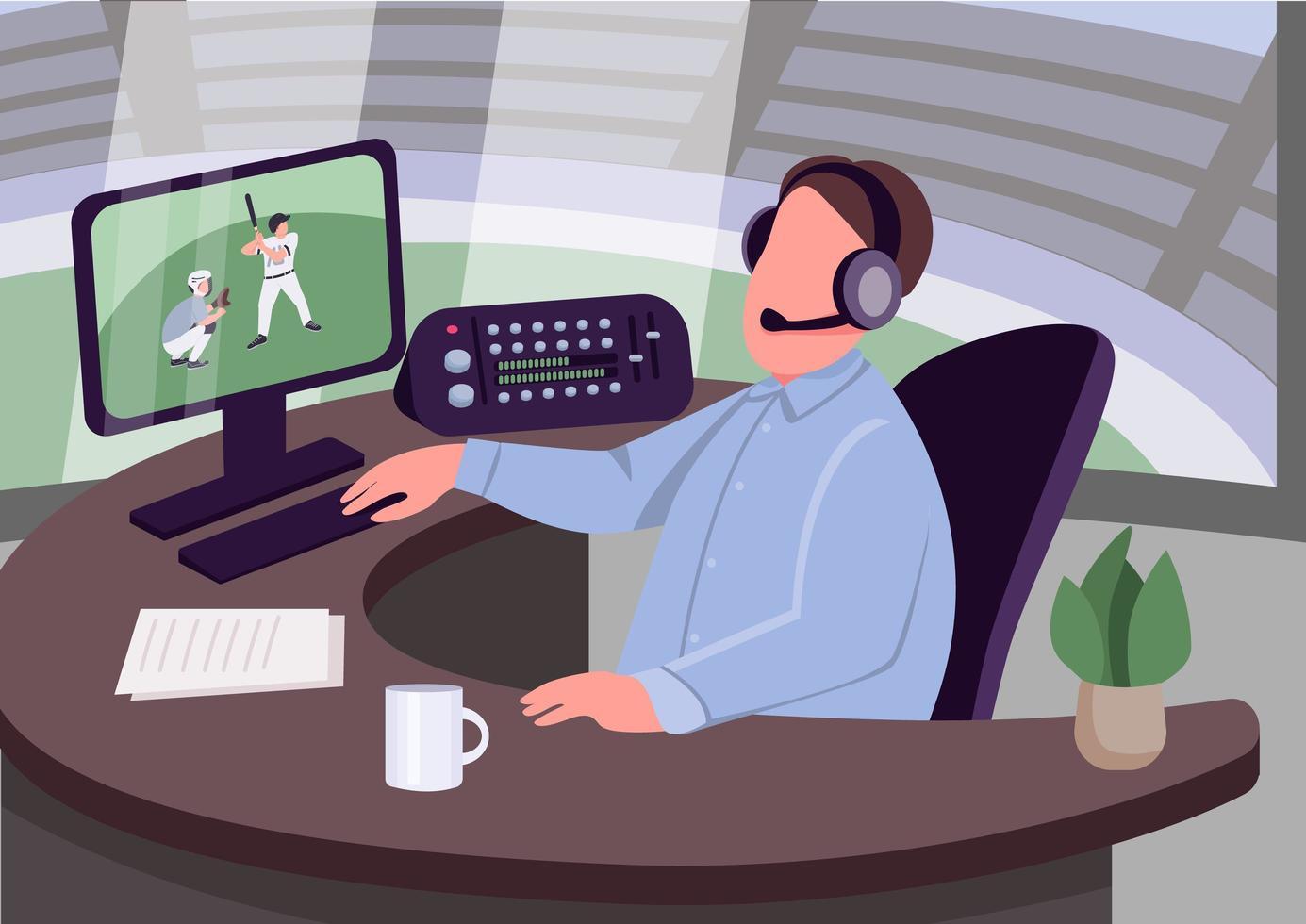 commentatore sportivo sul posto di lavoro vettore